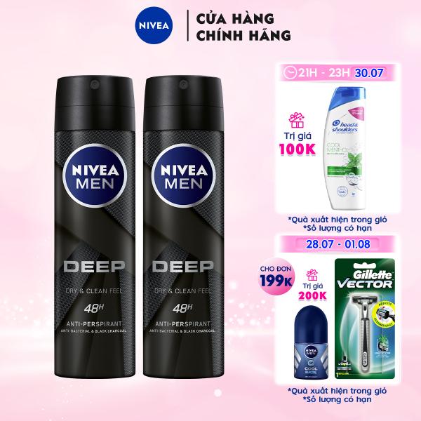 Bộ đôi Xịt ngăn mùi NIVEA MEN Deep than đen hoạt tính (150ml x2) - 80027 giá rẻ