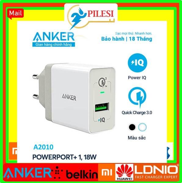 Sạc ANKER PowerPort+ 1 cổng 18w Quick Charge 3.0 có PowerIQ - A2010 tray không box