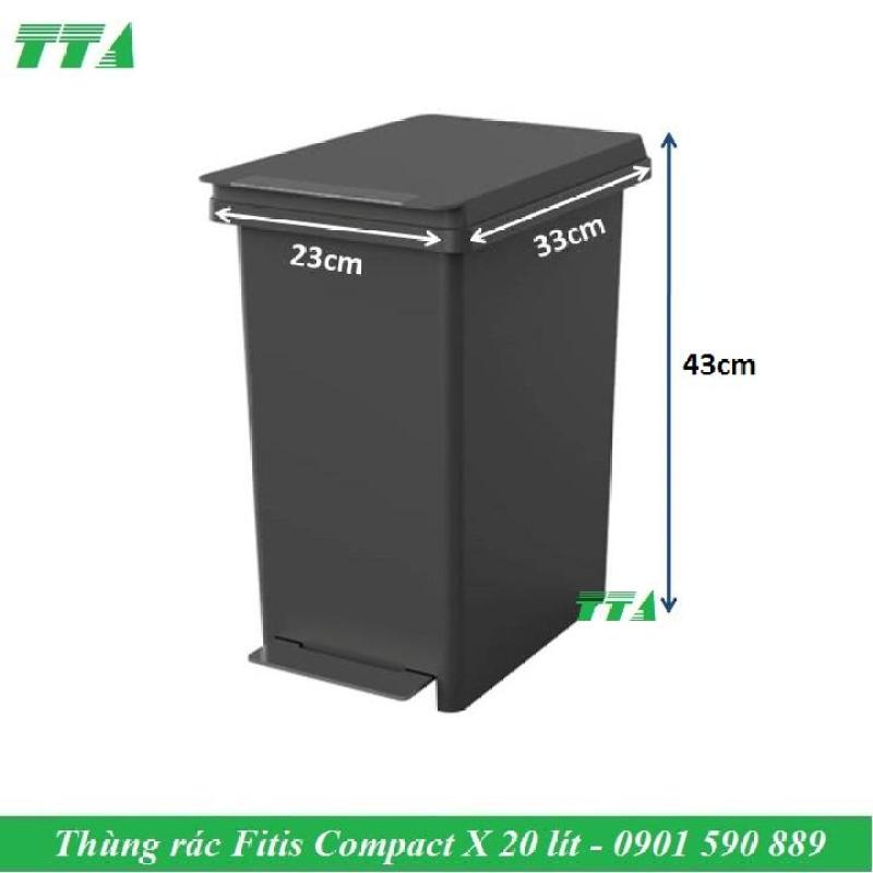 Thùng rác Fitis nhựa đạp chân 20 lít compact X - PPL1-906