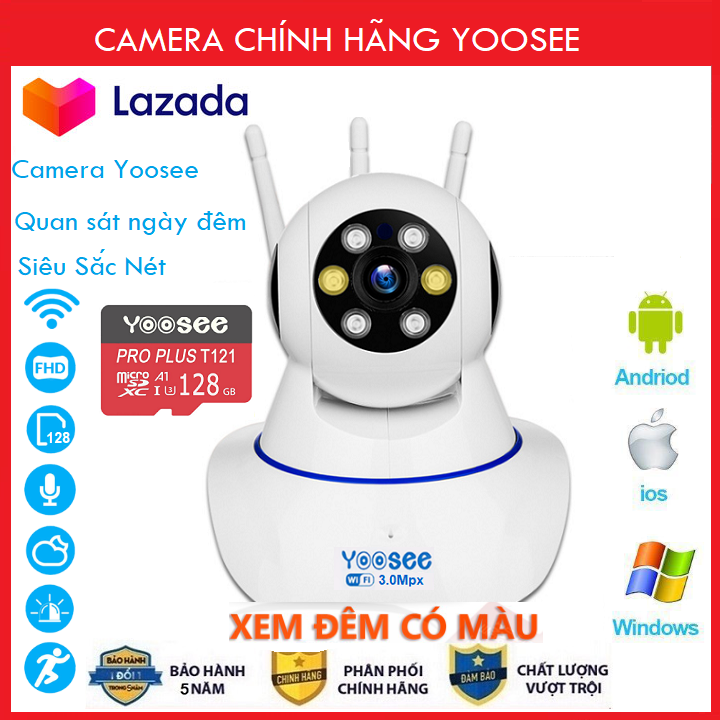 ( Camera Thẻ SD YOOSEE 128 GB, BẢO HÀNH 60 Tháng )Camera IP Wifi Yoosee 3 Râu 8 Led Xem Đêm Có  xoay 360 độ, độ phân giải FULL HD 3.0MP 1920x1080p Không Dây,Camera trong nhà, Camera hồng ngoại tích hợp ghi âm