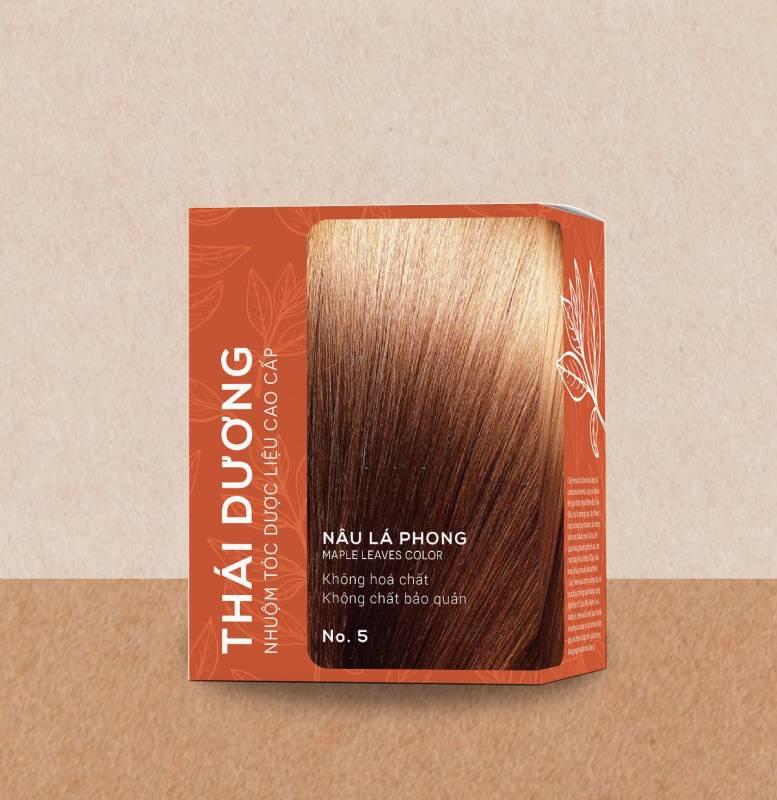 Nhuộm tóc 100% dược liệu thái dương nâu lá phong (Hộp 5 gói x 15g) cao cấp