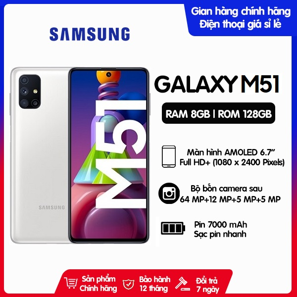 Điện thoại Samsung Galaxy M51 8GB/128GB - Pin khủng 7000mAh - Hàng Chính Hãng