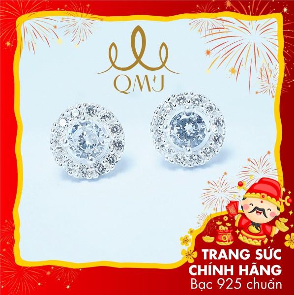 QMJ Khuyên tai bạc Hằng Nga nạm đá sắc sảo bạc 925 chuẩn cao cấp, dành cho bạn nữ thích bộ trang sức cổ trang và khuyên tai nụ one love và phong cách phụ kiện thời trang, thiết kế đơn giản, duyên dáng, công sở - Q069