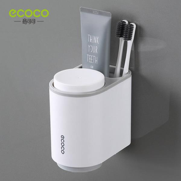 Kệ Để Cốc Bàn Chải Đánh Răng Kèm 2 Cốc Ecoco, Bộ Để Cốc Đăng Răng Lắp Đặt Dính Tường Không Cần Khoan Vít