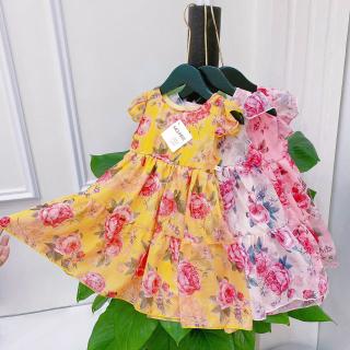 Váy bé gái hoạt tiết hoa nhí, đầm bé gái cho bé từ 2 đến 12 tuổi chất liệu tơ hàn, size đại đến 40kg thumbnail