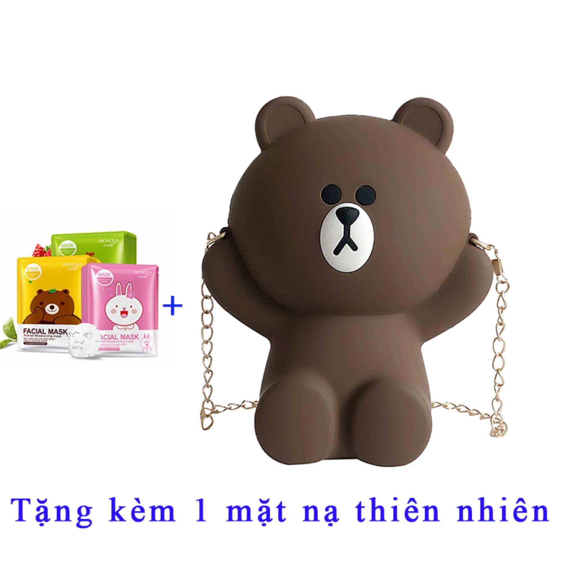 [TẶNG QUÀ- chát với shop để nhận quà] túi đeo chéo gấu nâu siêu cute T1054