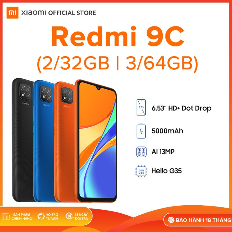 SẢN PHẨM MỚI - [XIAOMI OFFICIAL] Điện thoại Xiaomi Redmi 9C 2GB/32GB | 3GB/64GB - Chip MediaTek Helio G35 8 nhân (12 nm), Màn hình giọt nước 6.53 HD+, Camera 13MP, Pin 5000 mAh siêu trâu, Cày game ngày đêm - BH Chính hãng 18 tháng