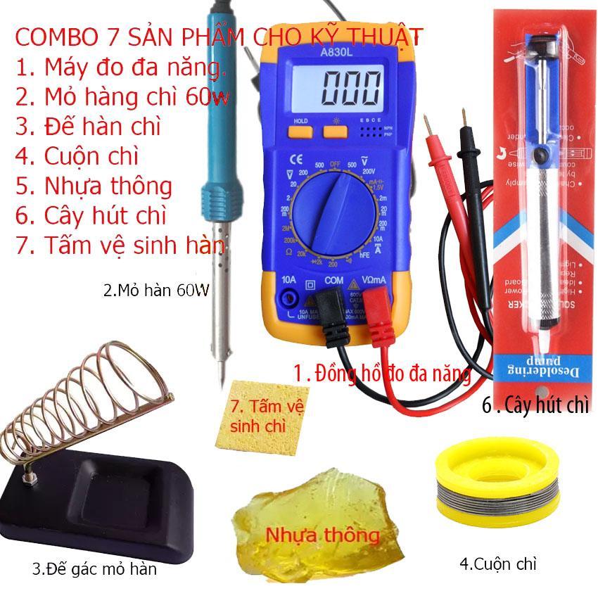 Đồng hồ đo vạn năng A830L + 6 món dụng cụ kỹ thuật hàn