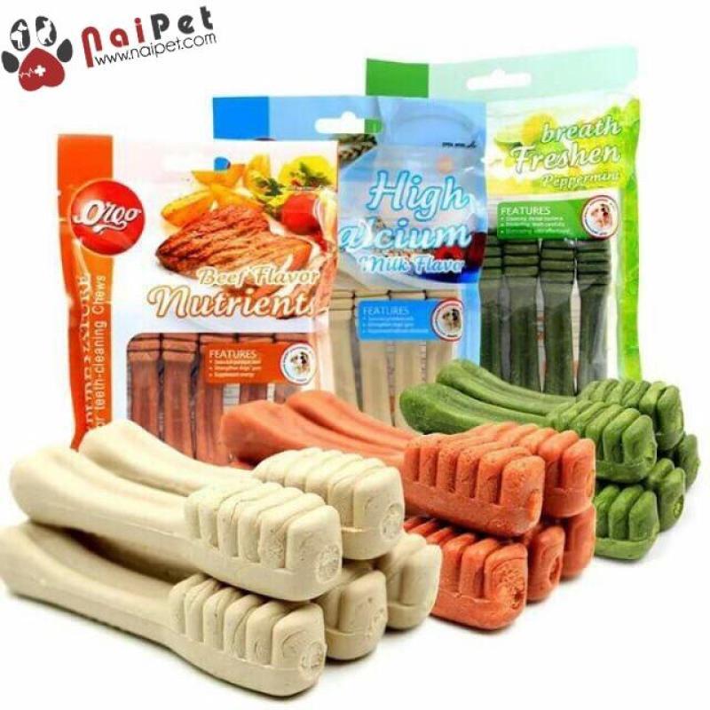 Đồ Ăn Vặt Xương Gặm Sạch Răng Hình Bàn Chải Calcium Vị Bò Sữa Bạc Hà Org 90g