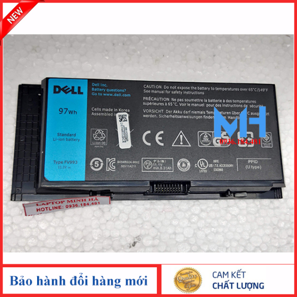 Bảng giá Pin laptop Dell Precision M4800 M4600 M6700 M4700 M6600 M6800 M50 FV993 T3NT1 97KRM 9GP08 KJ321 PG6RC R7PND X57F1 97WH ZIN theo máy Phong Vũ