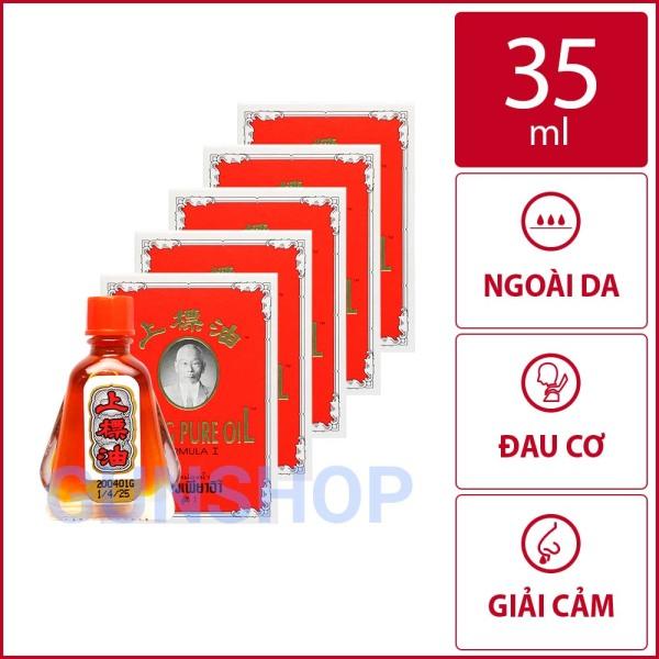 [35ml] Bộ 5 chai dầu gió Thái Lan hình ông già Siang Pure Oil   Chai 7ml   GUNSHOP nhập khẩu