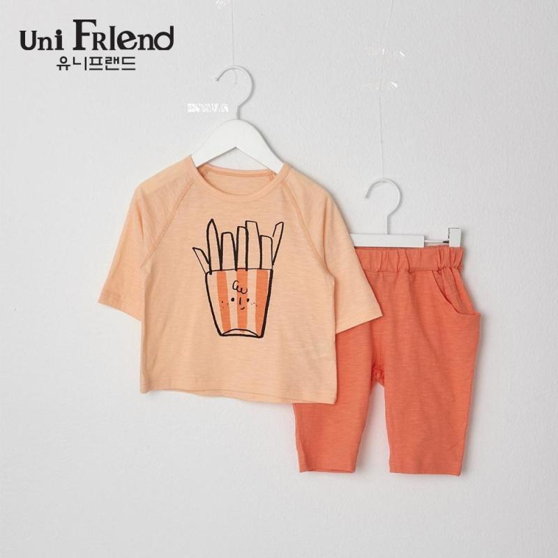 Nơi bán Đồ bộ mặc nhà bé gái Unifriend thun lửng hoạ tiết khoai tây chiên U9SSTL34