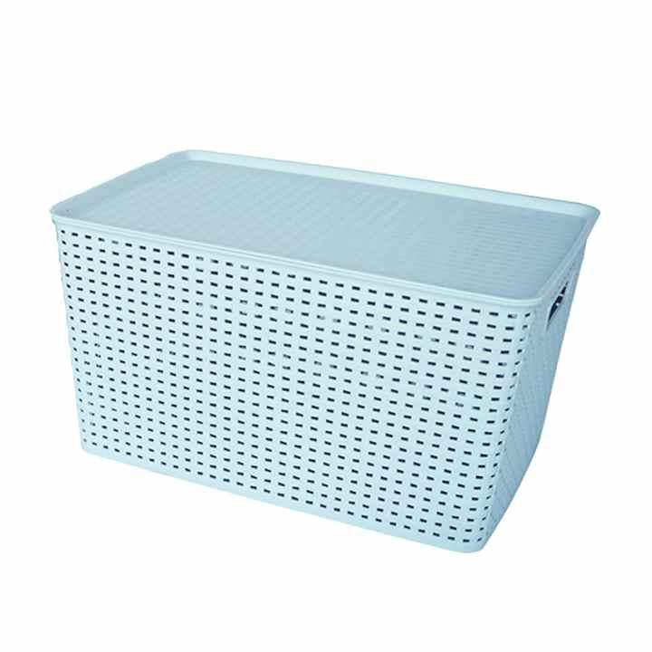 Hộp nhựa lưu trữ mây đan 6.5L Inplus 426-49250 (Trắng đen)
