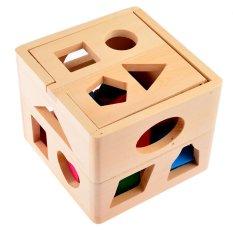 Hình ảnh Hộp vuông thả hình khối bằng gỗ