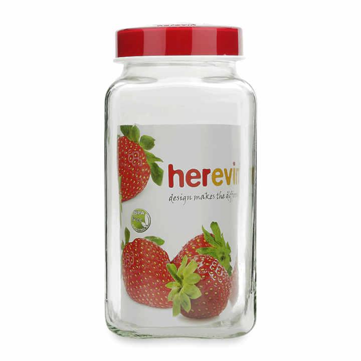 Hũ thủy tinh vuông Herevin 137017 3L (Đỏ)