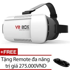 Kính thực tế ảo VR Box (Trắng) + Tặng 1 Remote đa năng