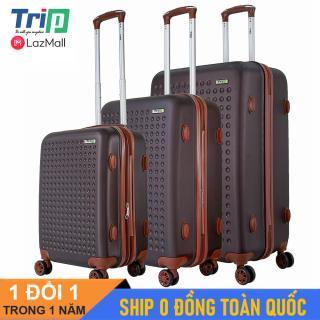 [Hỗ trợ phí Ship] Bộ 3 Vali TRIP P803A Size 20 + 24 + 28inch (Màu Cafe) Vali du lịch TRIP nhựa cao cấp siêu biền có dây kéo nới rộng thumbnail