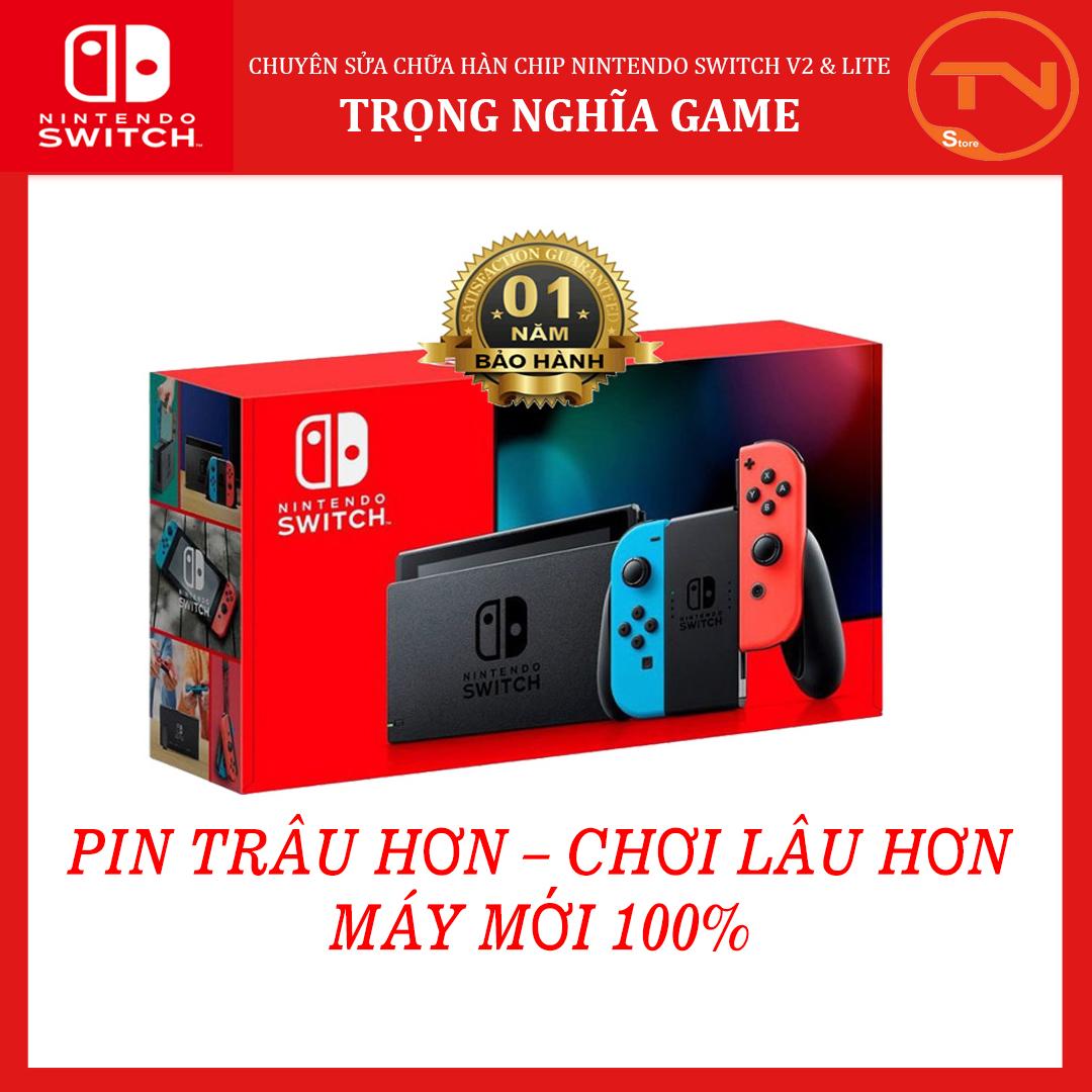 Máy Chơi Game Nintendo Switch New Model Aeon Blue and Neon Red Joy‑Con [Pin Lâu Hơn + 12 tháng bảo hành]+Tặng Dán Cường Lực  [TRẢ GÓP 0%]