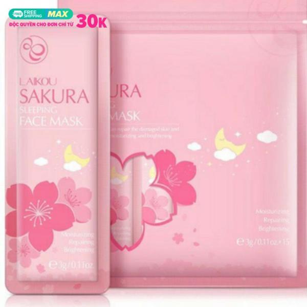 Túi 15 gói mặt nạ ngủ Hoa anh đào Sakura Sleeping Face Mask dưỡng da mụn cấp ẩm thải độc