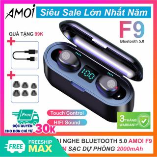 Tai nghe bluetooth 5.0 Amoi F9 kiêm sạc dự phòng 2000mAh, tai nghe không dây điều khiển cảm ứng, màn led báo pin, chống nước, tai nghe bluetooth amoi f9, tai nghe không dây, tai nghe bluetooth không dây, hay hơn tai nghe i11 thumbnail