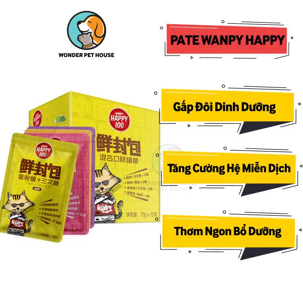 [Pate Wanpy Happy] - Pate Cho Mèo Ngon - Gấp Đôi Dinh Dưỡng - Pate Mèo Cải Thiện Hệ Miễn Dịch