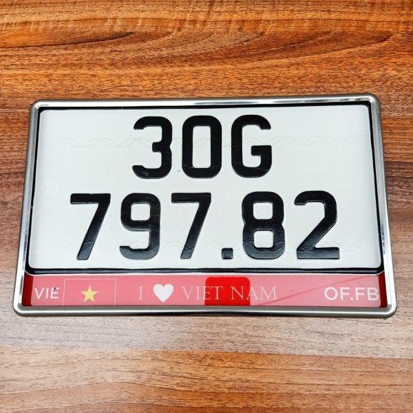 Biển số ô tô đẹp mẫu mới 2 biển chữ nhật kích thước 33x16.5cm lắp cho xe đăng kí mới
