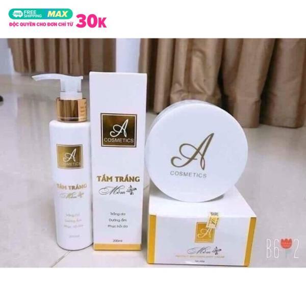 Combo tắm trắng và kem body mềm A Cosmetics