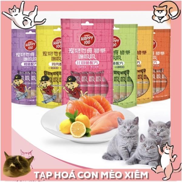 [HẤP DẪN] Súp thưởng ciao Happy100 dạng thanh 14gr- 6 mùi hấp dẫn mọi bé mèo