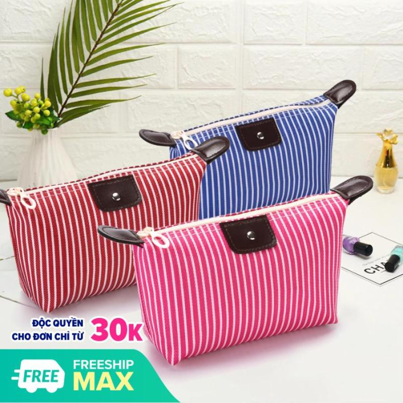 XPLUS - Túi đựng mỹ phẩm trang điểm kẻ sọc chống thấm túi mỹ phẩm cá nhân nhỏ gọn tiện lợi túi đựng mỹ phẩm XP-T021 cao cấp