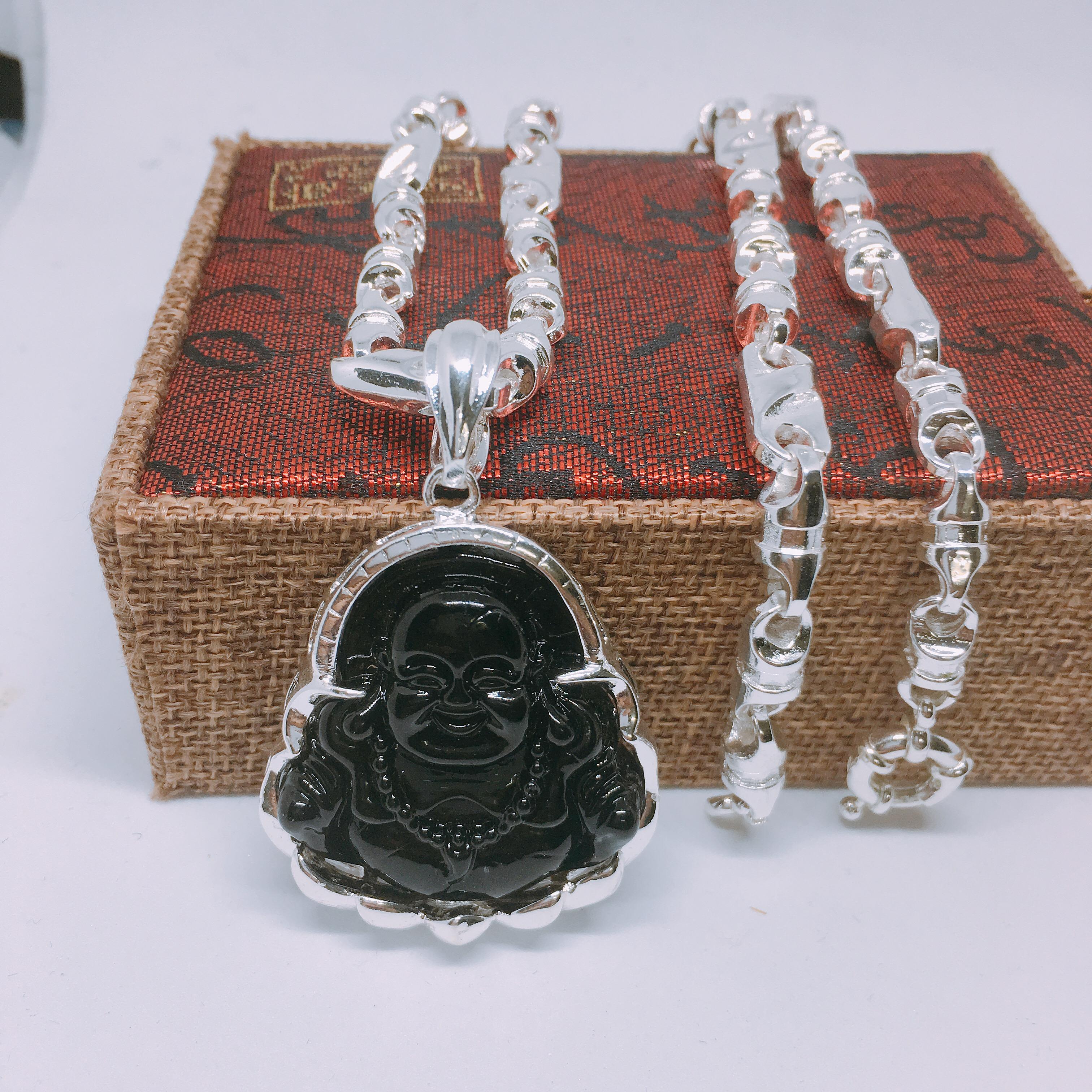 Dây chuyền Phong Thủy Nam Vip Bạc Thái, Vòng Cổ Nam Phong Cách MS10| Jewelry Bảo Tín (dây và mặt) ( Màu Bạc) Nhật Bản