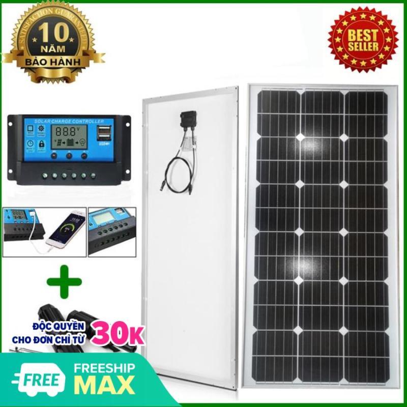 Tấm Pin năng lượng mặt trời đơn tinh thể Mono 110W tặng điều khiển sạc 30A 12V/24V LCD (công suất 360w) + jack MC4