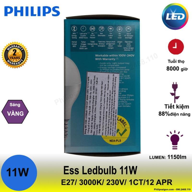 ( Bộ 12) Bóng đèn Philips LEDBulb ESS 11W E27 65000K hoặc 3000K 230V A60