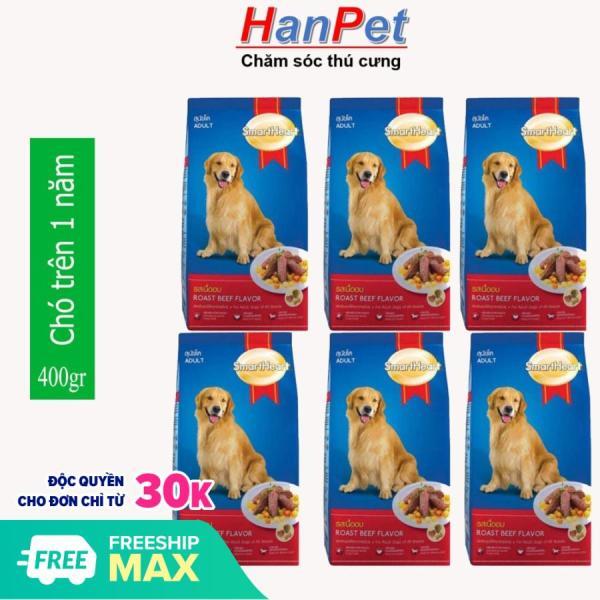 HCM-(Combo 6 gói) Thức ăn  dạng hạt cao cấp Smartheart Adult (dành cho chó trên 1 năm tuổi) - mỗi gói 400g (hanpet 206c-HP10308TC