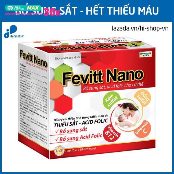 Viên uống Fevitt Nano bổ sung Sắt, Acid Folic cho người thiếu máu não, phụ nữ mang thai và sau sinh - Hộp 100 viên dùng 100 ngày giá rẻ