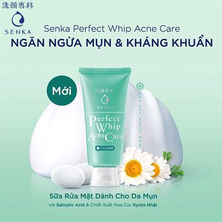 Sửa rửa mặt dành cho da mụn Senka Perfect Whip Acne Care 100g 15554