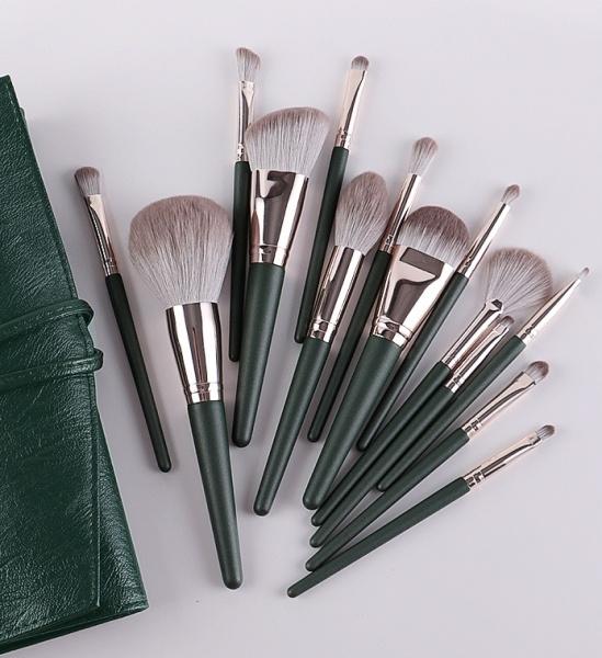Bộ cọ Trang Điểm 14 Cây Cán Xanh Cao Cấp, Đầy Đủ Chức Năng Makeup, Lông Cọ Mềm, Tay Cầm Thoải Mái