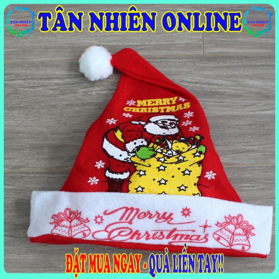 Mũ nón ông già Noel bằng vải nỉ mỏng (Loại Tốt) có size cho người lớn và trẻ em cho giáng sinh ấm áp, trang trí giáng sinh, Tân Nhiên Online