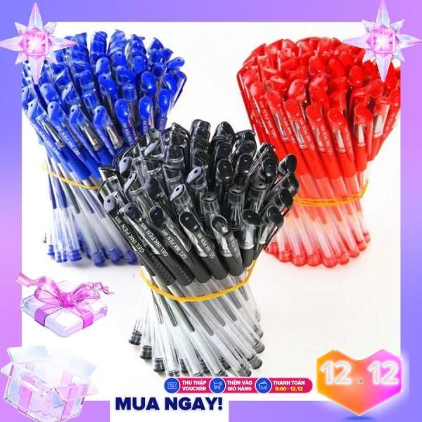 Mua Bộ 50 bút bi nước viết êm tay không lem mực ra tay, bút bi giá rẻ sẵn 3 màu đen xanh đỏ, đồ dùng văn phòng phẩm cho học sinh, văn phòng