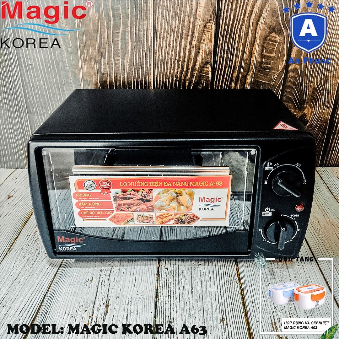 Lò nướng bánh mini Magic Korea A63 | Dung tích 12 Lít | Công suất 1000W | Màu đen | Bảo Hành Chính Hãng 12 Tháng | Tặng Hộp Giữ Nhiệt Magic A03