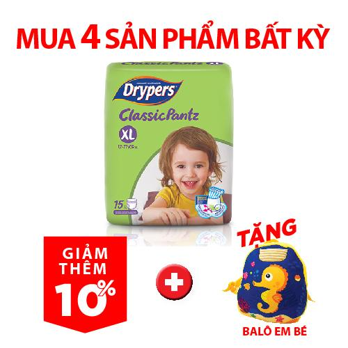Chương Trình Ưu Đãi cho Tã Quần Drypers ClassicPantz XL 15P