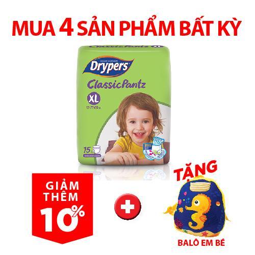 Offer Khuyến Mãi Tã Quần Drypers ClassicPantz XL 15P