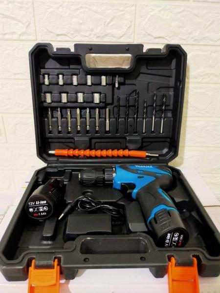 may khoan pin makita 12V-có 2 cục pin-Tặng kèm hộp đồ nghề 24 món