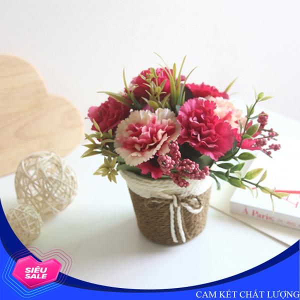 Chậu hoa cẩm chướng giả trang trí để bàn, hoa được làm bằng nhựa có độ bền cao, chậu hoa bằng mây đẹp mắt - HF002 (nhiều màu lựa chọn)