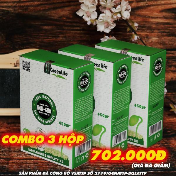 COMBO 3 hộp Mầm Đậu Nành GreenLife Tăng Vòng 1, hỗ trợ nội tiết, sinh lý nữ - chống lão hóa