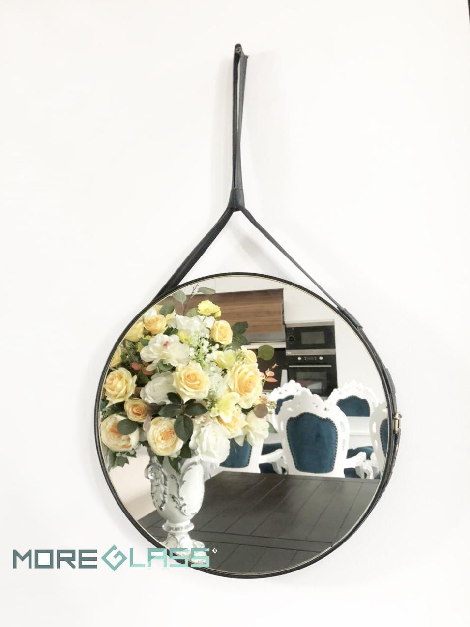 Gương tròn treo tường dây da màu đen - Gương trang trí treo tường phòng khách - Gương trang điểm treo tường [Ảnh thật]