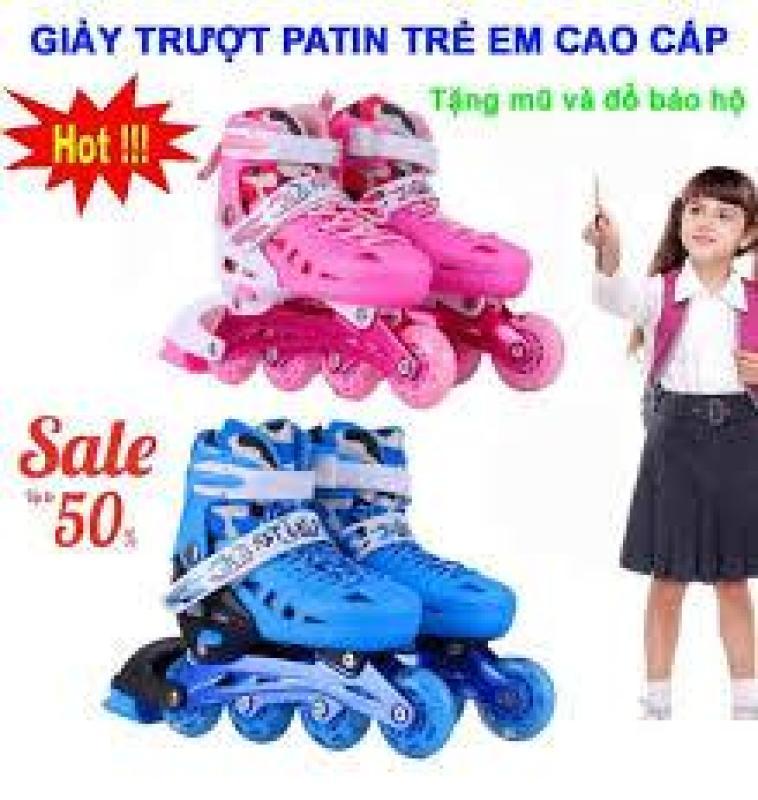 Phân phối Giày Patin trẻ em tặng mũ và đồ bảo hộ (5 đến 14 tuổi) ôm chân,giày patin bánh dọc - Giày Patin Trẻ Em cao cấp