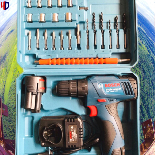 (Loại Tốt) Máy Khoan Pin Bắn Vít 12V BOSCH  - 2 Pin Chuẩn - Full Phụ Kiện 24 Chi Tiết - 100% Lõi Đồng