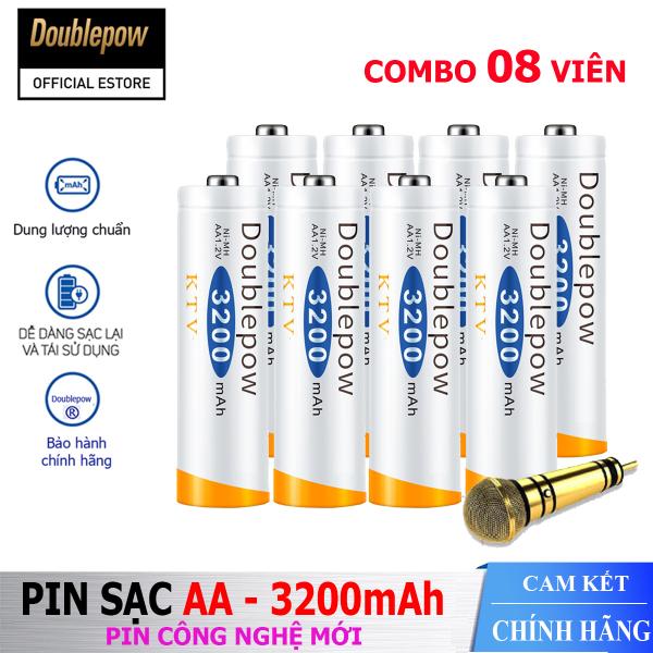 [Hộp 8 viên] Pin sạc AA 3200mAh Doublepow -Pin chuyên dụng cho Micro Karaoke  - (pin màu cam) - Bảo hành chính hãng