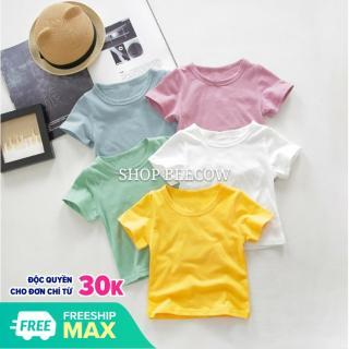 [MÀU NGẪU NHIÊN] Áo Thun Cotton Kiểu Dáng Basic Cho Bé Trai Gái 8-18kg thumbnail
