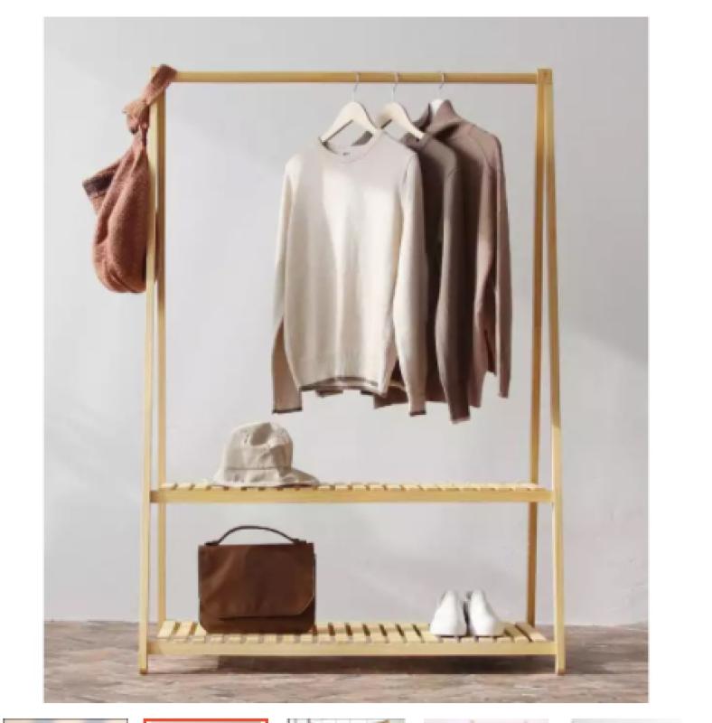 Kệ treo quần áo chữ A 2 tầng gỗ cao cấp nội thất Hàn lắp ráp vận chuyển dễ dàng, decor phòng ngủ cực xinh